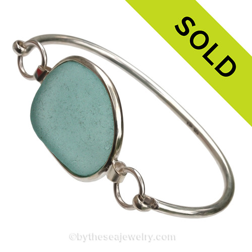 Large Aqua Blue Sea Glass Bangle Bracelet set in our Premium Deluxe Wire Bezel© Solid Sterling Silver