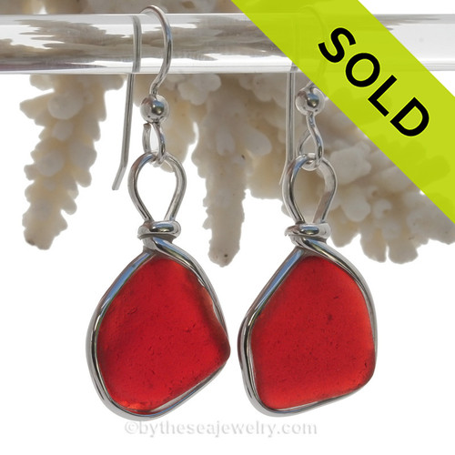 LARGER Genuine Red Royal Ruby Beach Found Sea Glass Earrings In Solid Sterling Original Wire Bezel©