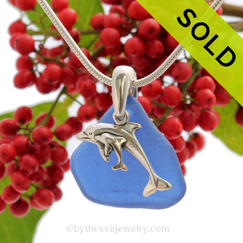 "Cobalt Blue Sea Glass With Sterling Silver Dolphins Charm - 18"" STERLING CHAIN INCLUDED"