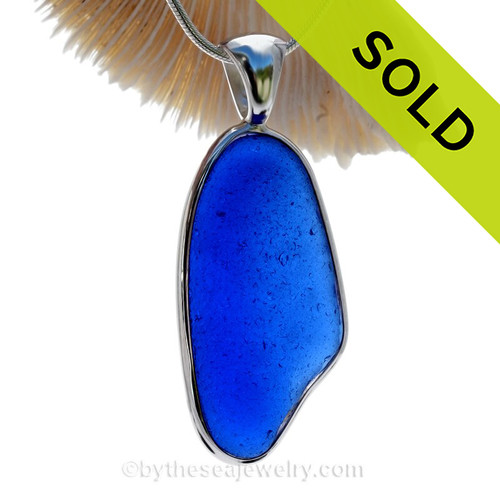 P-E-R-F-E-C-T Long Large Bright Blue Sea Glass In a Solid Sterling Silver Wire Bezel© Necklace Pendant