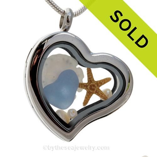 Carolina Love - Carolina Blue Heart Shaped Sea Glass, Starfish, Sandollar and Fresh Water Pearls Heart Locket Necklace.