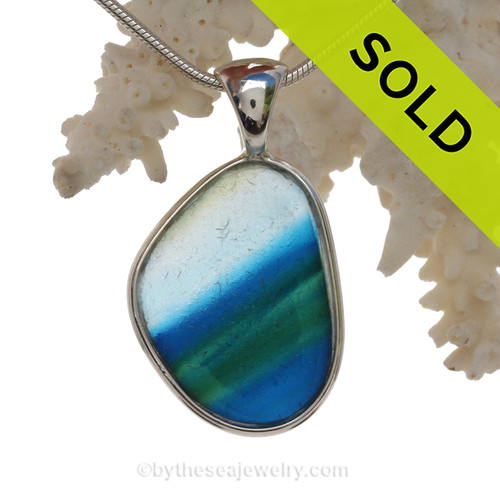 Large ULTRA RARE Mixed Royal Blue &  Green Multi Sea Glass Pendant In Deluxe Wire Bezel Setting©