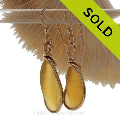 A great match in my English Multi Sea Glass in a vivid golden yellow sea glass. ULTRA ULTRA RARE!  SOLD - Sorry this Sea Glass Jewelry selection is NO LONGER AVAILABLE!