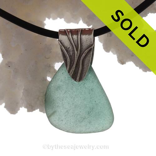 Tropical Aqua Bubbled  Sea Glass Necklace with Neoprene Cord
