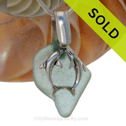 "Natural Aqua Green Sea Glass With Sterling Silver Large Kissing Dolphins Charm - 18"" STERLING CHAIN INCLUDED"