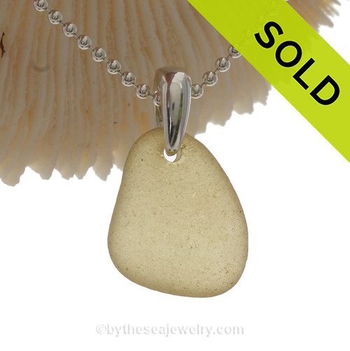 Warm Yellow Sea Glass Necklace On Sterling Bail a Solid Sterling Beaded Chain is INCLUDED!