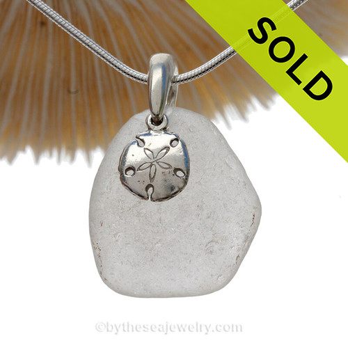 Clean Fresh White Sea Glass With Sterling Sandollar Charm