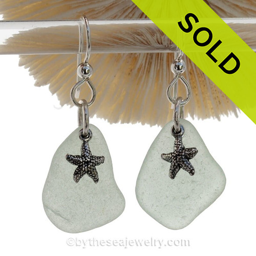 Sea Charmed - Seafoam Green Sea Glass Earrings W/ Sterling Starfish Charms