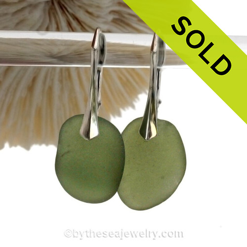 Beach Found Seaweed Green Sea Glass Earrings On Solid Sterling Silver Leverbacks