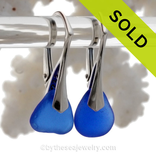 PERFECT Petite Cobalt Blue Sea Glass Earrings on Solid Sterling Silver Leverbacks