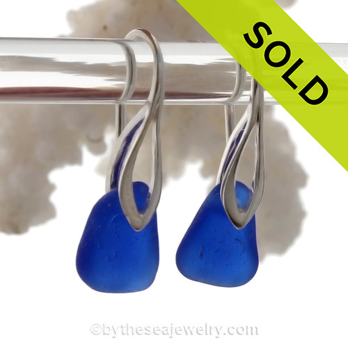 Vivid Cobalt Blue Beach Found Sea Glass Earrings on Solid Sterling Silver Deco Hooks