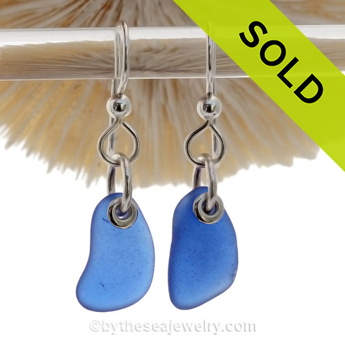 Simply Sea Glass - Petite Blue Earrings On Solid Sterling Silver Silver Earwires