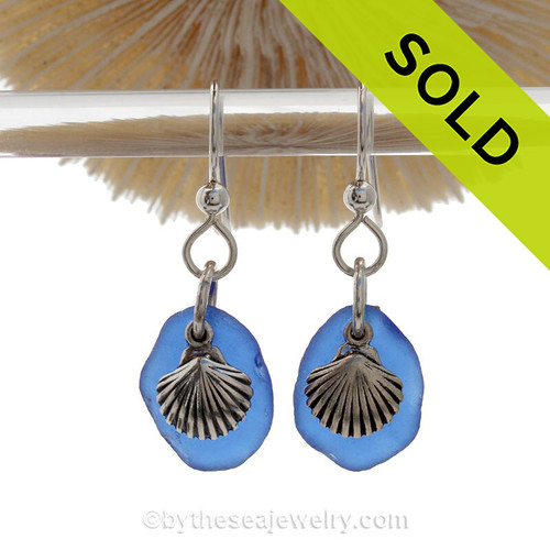 Cobalt Blue Beach Found Sea Glass Earrings On Sterling W/ Silver Shell Charms