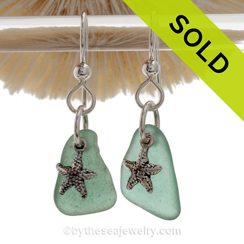 Sea Charmed - Tropical Aqua Green Sea Glass Earrings W/ Sterling Starfish Charms
