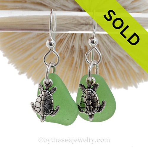 Green Genuine Sea Glass Earrings On Sterling W/ Sterling Sea Turtle Charms