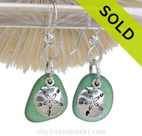 Unusual Green Genuine Sea Glass Earrings On Sterling W/ Sterling Sandollar Charms