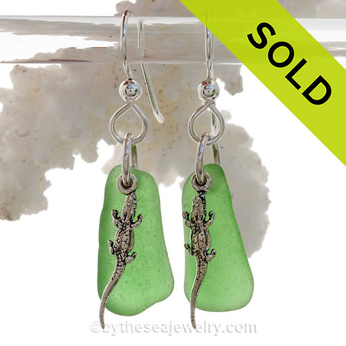Green Sea Glass Earrings On Sterling W/ Sterling Alligator Charms