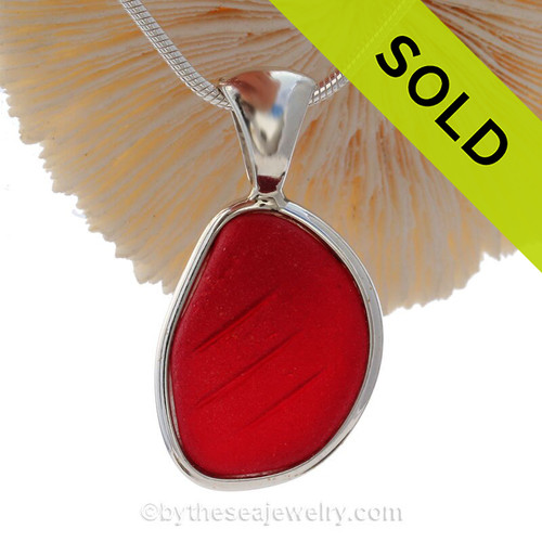 P-E-R-F-E-C-T Embossed Vivid Cherry Red Sea Glass Pendant In Sterling Deluxe Wire Bezel©
