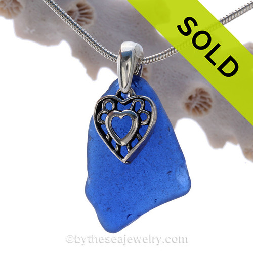 "Deep Cobalt Blue Sea Glass With Sterling Silver Heart In Herts Charm - 18"" STERLING CHAIN INCLUDED"