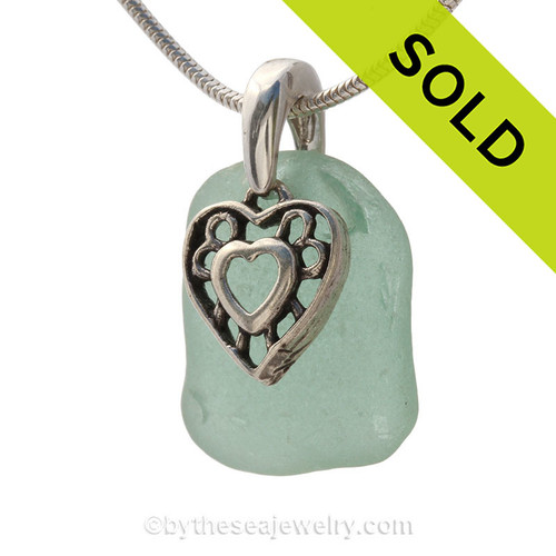 "Tropical Love -Aqua Green Sea Glass Necklace With Sterling Heart Charm - 18"" Sterling Chain INCLUDED"