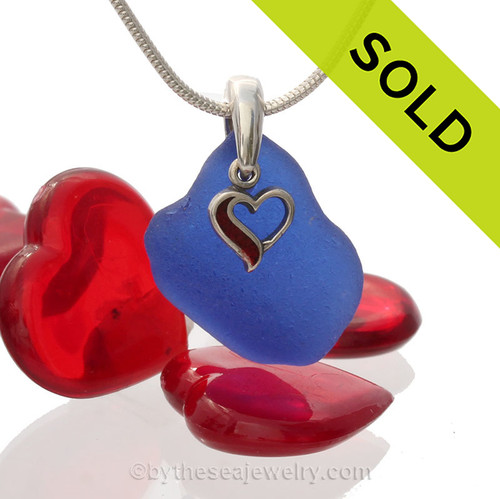 Cobalt Blue Sea Glass With Sterling Silver Enameled Heart Charm