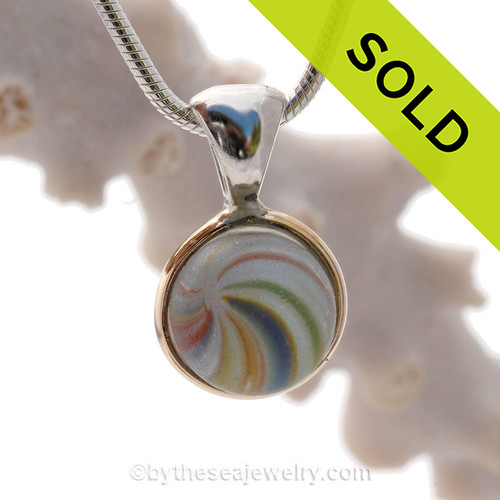 Ultra Rare+  Color Onion Skin Marble in our Deluxe Wire Bezel Setting in Mixed Metal Gold and Sterling Silver. SOLD - Sorry this Sea Glass Jewelry selection is NO LONGER AVAILABLE!