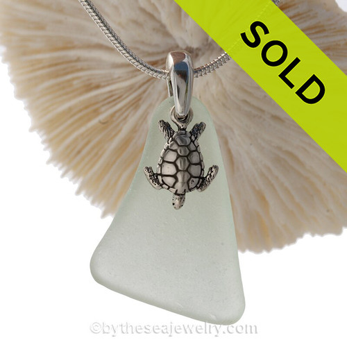 """Large Seafoam Green Sea Glass Necklace with Sterling Detailed Sea Turtle Charm and 18"""" STERLING CHAIN INCLUDED"""