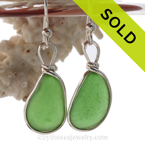 Longer Green Genuine Sea Glass Earrings In Sterling Silver Original Wire Bezel©
