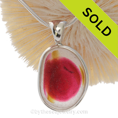 ULTRA ULTRA RARE Golden Yellow & Hot Pink Multi Sea Glass Pendant In Deluxe Wire Bezel Setting©