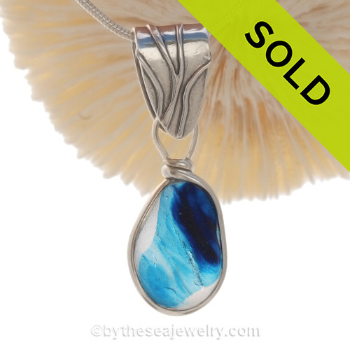 """Ocean Honor - Deep Aqua Blue Seaham Multi Pendant on Coral Bail set in Solid Sterling Silver with an 18"""" Solid Sterling Chain INCLUDED"""