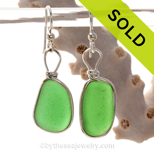 Imperfectly Perfect -  Bright Green Genuine Sea Glass Earrings In Sterling Silver Original Wire Bezel©