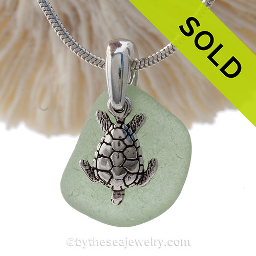 "Bright Fresh Sea Green Sea Glass Necklace with Sterling Detailed Sea Turtle Charm and 18"" STERLING CHAIN INCLUDED"