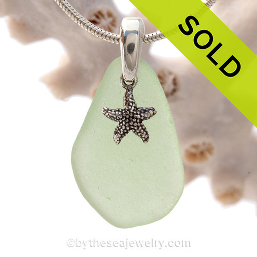 Perfect Sea Green Sea Glass Necklace set on a solid sterling cast bail with a sterling silver Starfish charm.