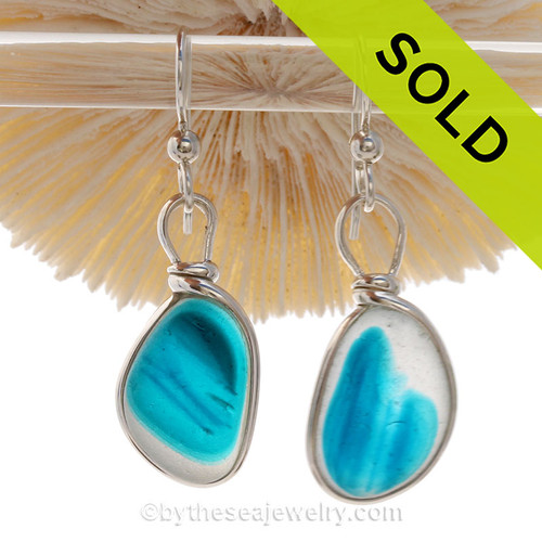 SUPER ULTRA RARE - P-E-R-F-E-C-T Electric Aqua English Sea Glass Earrings In Sterling Original Wire Bezel© Setting