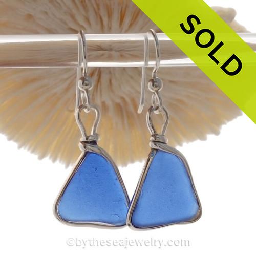 Thinner Featherweight Blue Genuine Sea Glass Earrings In Sterling Wire Bezel©