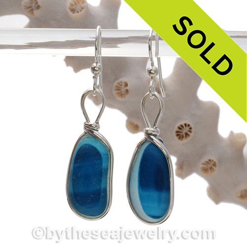 These are HUGE Ultra Rare Blue Aqua Mixed Sea Glass Earrings set in our Original Wire Bezel© setting in silver.