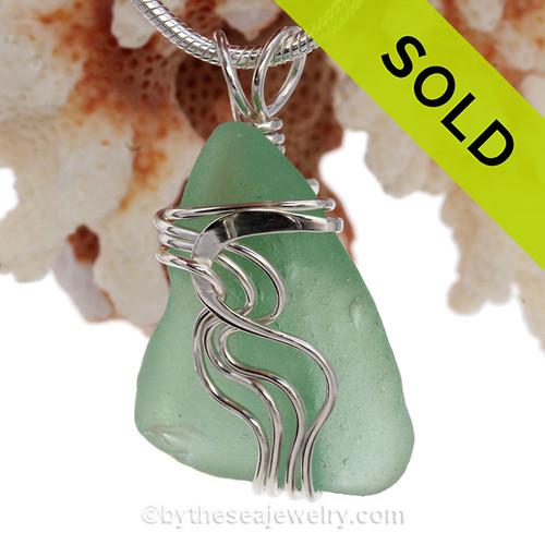 Sea Green Genuine Sea Glass Sterling Waves© Signature Sterling Setting Pendant