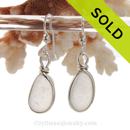 Perfect Lightweight Pure White Genuine Sea Glass Earrings In Sterling Original Wire Bezel