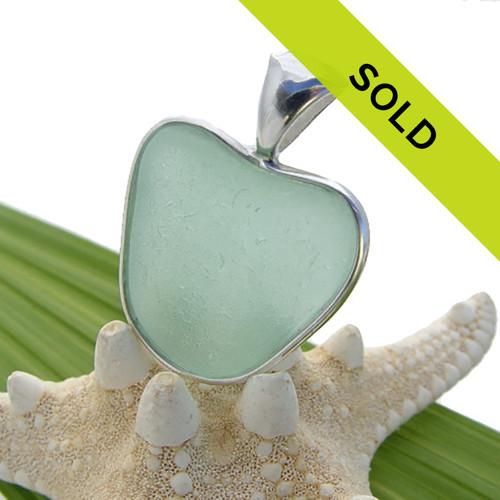 Seafoam Sea Glass Heart In Deluxe Sterling Bezel©