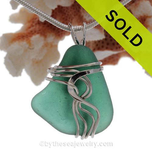 Lovely Teal Green Genuine Sea Glass Sterling Waves© Signature Sterling Setting Pendant
