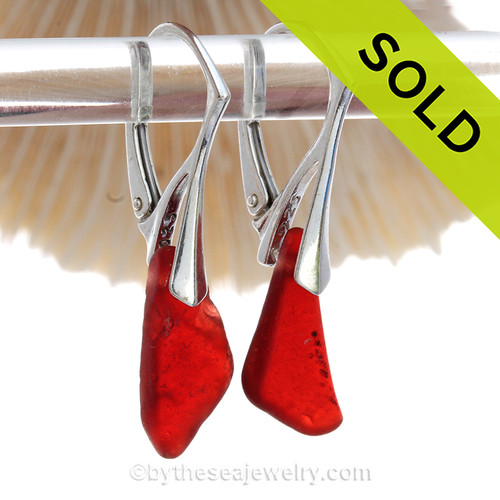 RARE Ruby Red Simply Sea Glass Earrings On Silver Leverbacks. SOLD - Sorry this Sea Glass Jewelry selection is NO LONGER AVAILABLE!