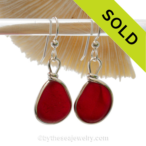 P-E-R-F-E-C-T Large Vivid Red Genuine English Sea Glass Earrings In Sterling Original Wire Bezel©