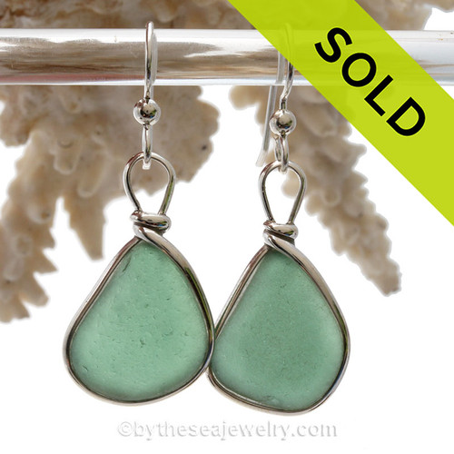 Perfect Shaped Seaweed Green Genuine Sea Glass Earrings In Sterling Silver Original Wire Bezel©