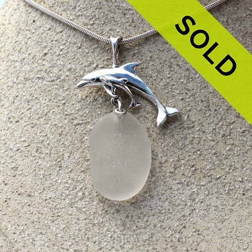 A large Mother and Child Dolphin Pendant with a Large pure white natural sea glass on a 2MM chain (included and a $38 value)