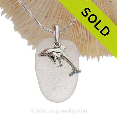 Pure White Sea Glass With Sterling Silver Dolphins - Mother And Child Charm