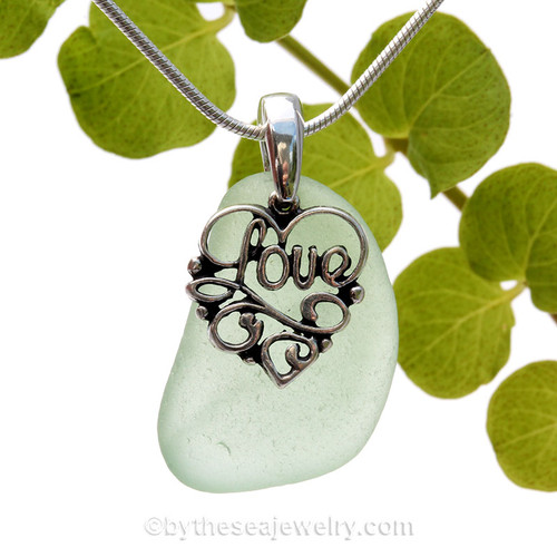 Bright Sea Green Sea Glass Necklace With Sterling Heart LOVE Charm