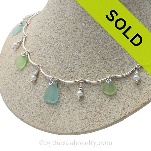 Spring Fling - Vaseline Green and Aqua Blue Genuine Sea Glass on a Solid Sterling Silver Curved Bar Necklace with Fresh Water Pearls.