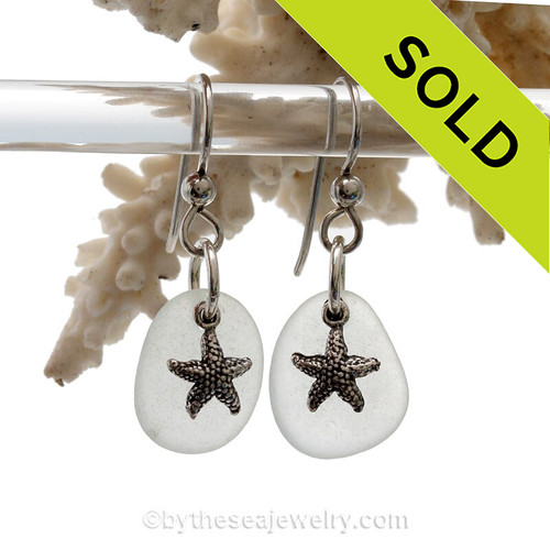 Sea Charmed - White with a hint of Green Sea Glass Earrings W/ Sterling Starfish Charms