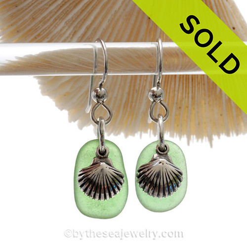 Green Sea Glass Earrings W/ Solid Sterling Shell Charms. SOLD - Sorry this Sea Glass Jewelry selection is NO LONGER AVAILABLE!