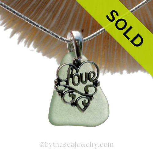 "Bright Seaweed Green Sea Green Sea Glass Necklace With Sterling Heart LOVE Charm - 18"" Solid Sterling Chain INCLUDED"